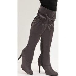 Ciemnoszare Kozaki Starvation. Czarne buty zimowe damskie marki Born2be, na wysokim obcasie, na szpilce. Za 74,99 zł.
