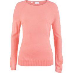 Swetry klasyczne damskie: Sweter w strukturalny wzór bonprix jasny koralowy