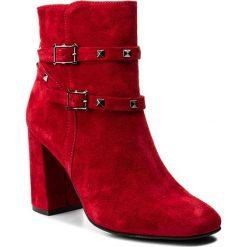 Botki NESSI - 17287/N Czerwony W. Czarne buty zimowe damskie marki Nessi, z materiału, na obcasie. W wyprzedaży za 279,00 zł.
