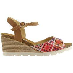 Rzymianki damskie: Skórzane sandały w kolorze brązowo-czerwonym