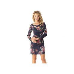 Dopasowana sukienka z paskami Emily kwiaty ED024-3. Niebieskie sukienki balowe Ella dora, na spotkanie biznesowe, xl, w kwiaty, dopasowane. Za 199,00 zł.