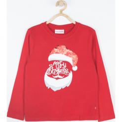 Koszulka. Białe t-shirty chłopięce z długim rękawem Merry Christmas, z nadrukiem, z bawełny. Za 45,90 zł.