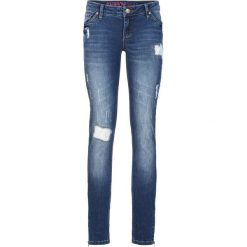 """Dżinsy SKINNY bonprix niebieski """"stone"""". Niebieskie jeansy damskie marki bonprix, z nadrukiem. Za 59,99 zł."""