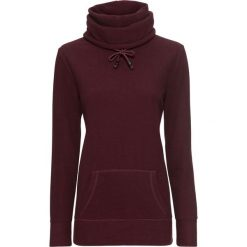 Bluzy damskie: Bluza rozpinana z polaru bonprix czerwony klonowy - czarny w paski