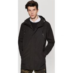 Płaszcze przejściowe męskie: Płaszcz o sportowym kroju z kapturem – Czarny