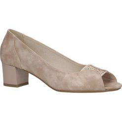 Różowe czółenka peep toe z kryształkami na niskim obcasie Jezzi SA105-2. Czerwone buty ślubne damskie marki Reserved, na wysokim obcasie. Za 79,99 zł.