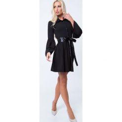 Sukienka rozkloszowana z guzikami czarna 1586. Czarne sukienki Fasardi, l, rozkloszowane. Za 79,00 zł.