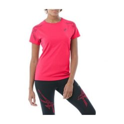 Asics Koszulka damska STRIPE SS TOP Cosmo Pink Heather r. L. Brązowe bralety Asics, l. Za 106,43 zł.