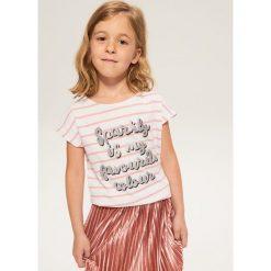 T-shirt z błyszczącym nadrukiem - Biały. Białe t-shirty damskie marki Reserved, l, z nadrukiem. Za 29,99 zł.