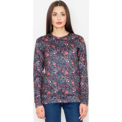 Bluzy rozpinane damskie: Czarna Klasyczna Bluza w Kolorowe Kwiaty