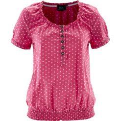 Bluzki damskie: Bluzka ludowa z nadrukiem, krótki rękaw bonprix różowy w kwiaty
