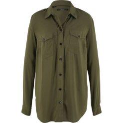 Bluzka koszulowa bonprix ciemnooliwkowy. Zielone bluzki koszulowe bonprix. Za 74,99 zł.