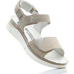 Wygodne sandały skórzane bonprix piaskowy. Szare sandały damskie bonprix. Za 189,99 zł.