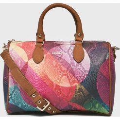 Desigual - Torebka. Brązowe torebki klasyczne damskie Desigual, w paski, z materiału, średnie. Za 349,90 zł.