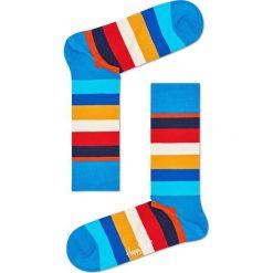 Happy Socks - Skarpetki Stripe. Niebieskie skarpetki damskie Happy Socks, z bawełny. W wyprzedaży za 29,90 zł.
