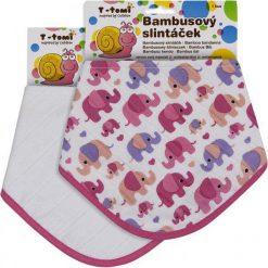 T-Tomi Bambusowe Śliniaczki, Różowe Słonie + Biały, 2 Szt. Białe śliniaki T-Tomi, z tkaniny. Za 39,00 zł.