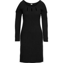 Sukienki dzianinowe: Sukienka dzianinowa z wycięciami bonprix czarny