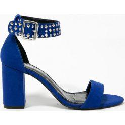 Morgan - Sandały. Szare sandały damskie na słupku marki Morgan, z materiału. W wyprzedaży za 229,90 zł.