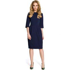 SYDNEY Sukienka z zakładkami - granatowa. Niebieskie sukienki balowe Moe, do pracy, z klasycznym kołnierzykiem, midi, dopasowane. Za 139,99 zł.