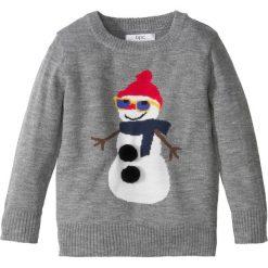 Bożonarodzeniowy sweter dzianinowy bonprix szary melanż. Szare swetry chłopięce marki bonprix, m, melanż, z dzianiny, z okrągłym kołnierzem. Za 37,99 zł.