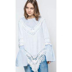 Bluzki damskie: Bluzka zdobiona szydełkowymi wstawkami i frędzlami biała