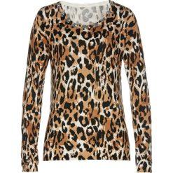 Sweter z połyskującymi kamieniami bonprix kamienisto-kawa lodowa-czarny. Szare swetry klasyczne damskie bonprix. Za 99,99 zł.