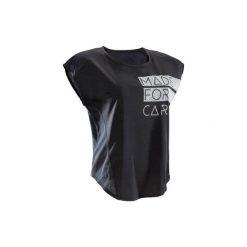 Koszulka fitness krótki rękaw 120 damska. Czarne bluzki sportowe damskie marki DOMYOS, z elastanu. W wyprzedaży za 24,99 zł.