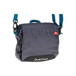 Torebka z licznymi kieszeniami. Szare torebki klasyczne damskie marki QUECHUA, w paski, z materiału. Za 39,99 zł.