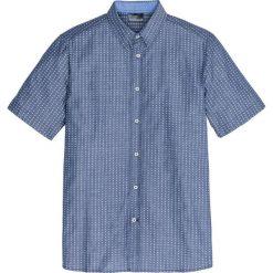 Koszula z krótkim rękawem w drobny deseń Regular Fit bonprix szary wzorzysty. Szare koszule męskie na spinki bonprix, m, z kontrastowym kołnierzykiem, z krótkim rękawem. Za 59,99 zł.