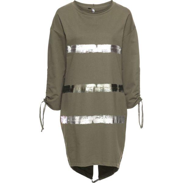 92cd668a2d Sukienka dresowa bonprix oliwkowo-srebrny z nadrukiem - Zielone ...