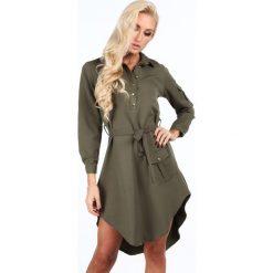 Sukienki: Sukienka z dłuższym tyłem khaki 5061