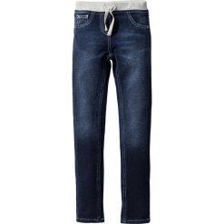 """Miękkie dżinsy z elastycznym ściągaczem bonprix ciemnoniebieski """"stone"""". Czarne spodnie chłopięce marki bonprix, w paski, z dresówki. Za 89,99 zł."""