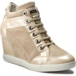 Sneakersy GEOX - D Eleni C D7267C 021HI CA55T Skin/Lt Beige. Brązowe sneakersy damskie Geox, z lakierowanej skóry. W wyprzedaży za 349,00 zł.