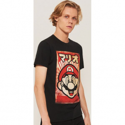 T-shirt super mario - Czarny. Czarne t-shirty męskie marki House, l. Za 49,99 zł.