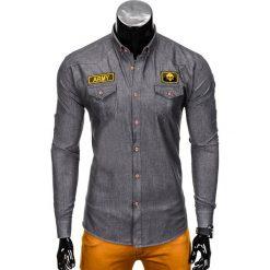 KOSZULA MĘSKA Z DŁUGIM RĘKAWEM K361 - GRAFITOWA. Szare koszule męskie na spinki Ombre Clothing, m, z aplikacjami, z kontrastowym kołnierzykiem, z długim rękawem. Za 79,00 zł.