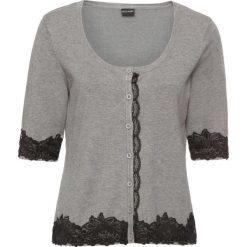 Sweter rozpinany z koronką bonprix szary melanż. Szare kardigany damskie marki bonprix, z koronki. Za 59,99 zł.