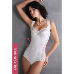 Wyszczuplające koronkowe body Leona. Szare bluzki body marki Astratex, z haftami, z bawełny. Za 180,99 zł.
