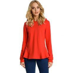 Bluzy damskie: Czerwona Bluza z Falbanką i Kapturem