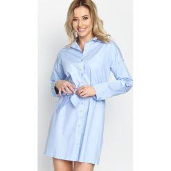 Niebieska Sukienka Sirene. Niebieskie sukienki balowe marki Born2be, s, z klasycznym kołnierzykiem, z długim rękawem, koszulowe. Za 94,99 zł.