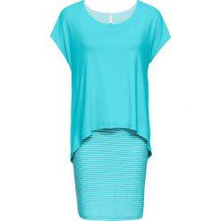Sukienki: Sukienka shirtowa z częścią spódnicową w paski bonprix morsko-biały