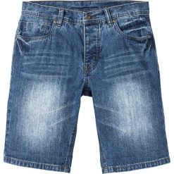 """Bermudy dżinsowe bonprix niebieski """"stone used"""". Niebieskie bermudy męskie bonprix, z nadrukiem, z jeansu. Za 49,99 zł."""