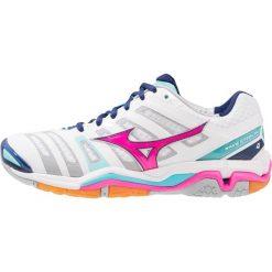 Buty sportowe damskie: Mizuno WAVE 4  Obuwie do piłki ręcznej white/pink glo/blue radiance