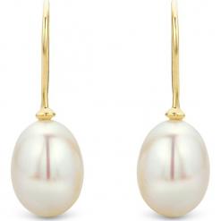 Perłowe kolczyki w kolorze białym. Białe kolczyki damskie REVONI, z perłą, złote, z zapięciem typu bigiel. W wyprzedaży za 194,95 zł.