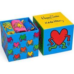 Happy Socks - Skarpety Keith Haring Box (3-pak). Niebieskie skarpetki męskie Happy Socks, z bawełny. W wyprzedaży za 89,90 zł.