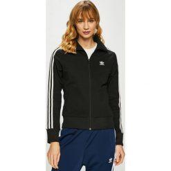 Adidas Originals - Bluza. Szare bluzy z kieszeniami damskie marki adidas Originals, na co dzień, z nadrukiem, z bawełny, casualowe, z okrągłym kołnierzem, proste. Za 279,90 zł.