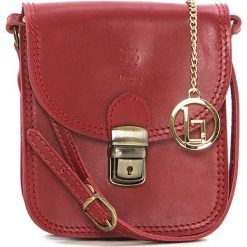 Torebki klasyczne damskie: Skórzana torebka w kolorze czerwonym – 15 x 17 x 8 cm
