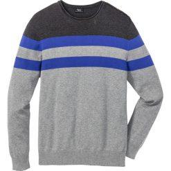 Sweter Regular Fit bonprix szary melanż - antracytowy melanż - szafirowy w paski. Szare swetry klasyczne męskie marki bonprix, l, melanż, z dzianiny. Za 59,99 zł.