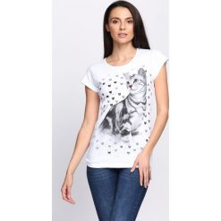 Bluzki damskie: Biały T-shirt Felinity