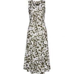 Sukienki: Sukienka z wiskozy bonprix ciemnooliwkowo-biały z nadrukiem