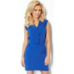 Elena Sukienka z zakładanym dekoltem - chabrowa. Niebieskie sukienki mini numoco, s, z krótkim rękawem. Za 145,00 zł.